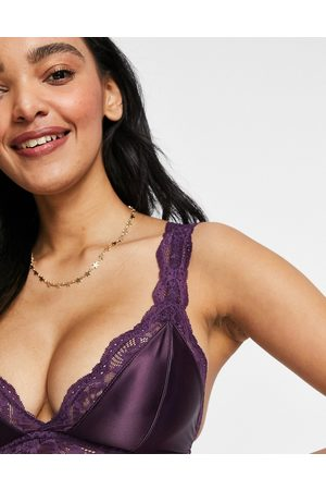 ASOS Fuller Bust Fliss satin & lace longline bralet in purple