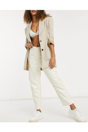 Fashion Union Straight leg trousers with waist seam detail in faux leather