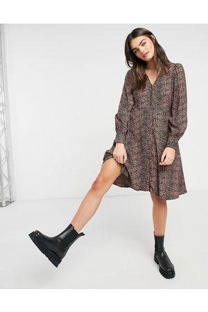 Y.A.S Mini skater dress with v neck in brown animal print