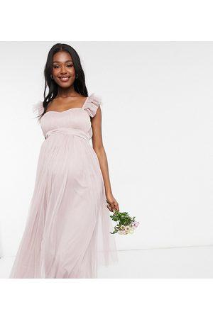 ANAYA Anaya With Love Maternity Bridesmaid tulle frill sleeve midaxi dress in pink