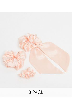 ASOS Pack of 3 scrunchies and bow in mixed size