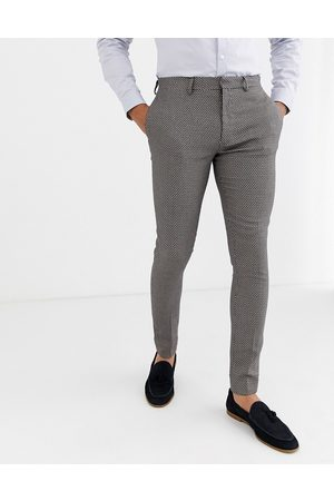 ASOS Wedding super skinny suit trousers in micro texture in grey