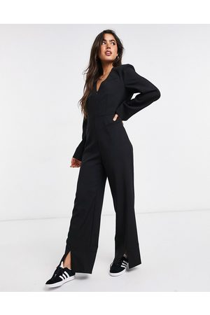 Weekday Blake split hem jumpsuit in black