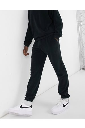River Island Towelling jogger in black