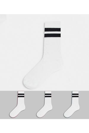 Weekday Eleven 3 pack socks pack in white with black stripe