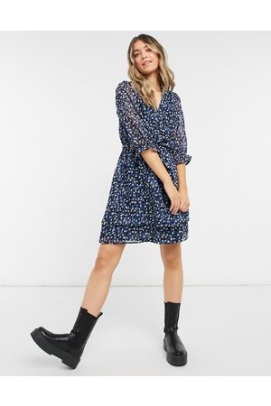 New Look Collared mini tea dress in blue floral