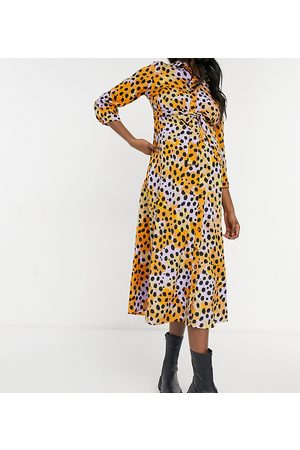 Pieces Maternity Shirt midi dress with tie waist in mixed spot print