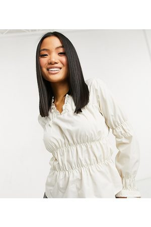 Vila Shirt with gathered ruched detail in cream