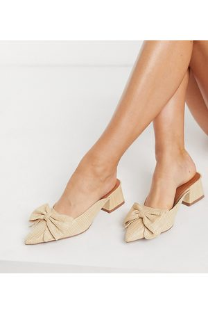 ASOS Wide Fit Summer bow mid heeled mules in natural