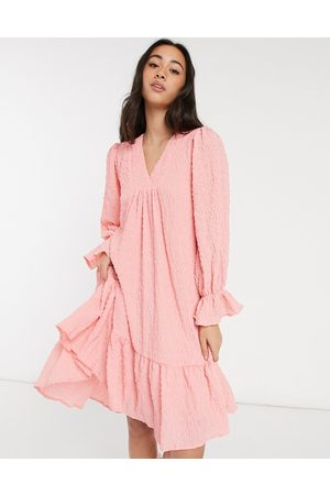 Y.A.S Textured mini smock dress with dipped hem and v