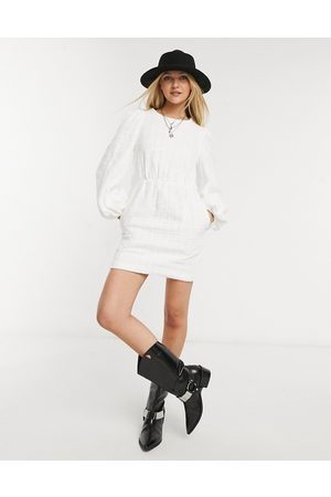 In The Style X Lorna Luxe smock dress with oversized collar in white