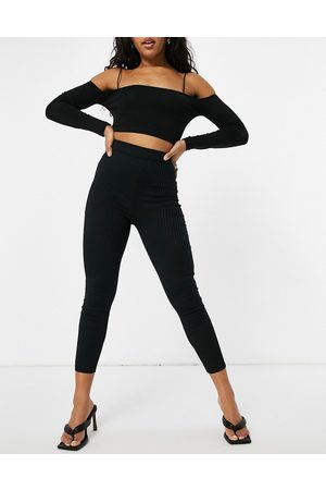 Club L Ribbed fitted trousers in black co