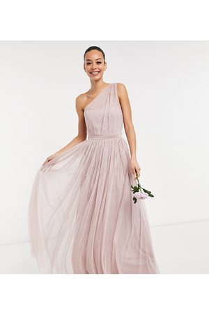 Anaya Tall Anaya With Love Tall Bridesmaid tulle one shoulder maxi dress in pink