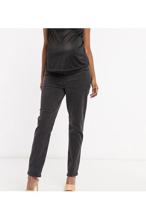 ASOS ASOS DESIGN Maternity high rise farleigh 'slim' mom jeans in washed black with over the bump waistband