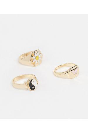 Monki Alba 3 pack motif rings in gold