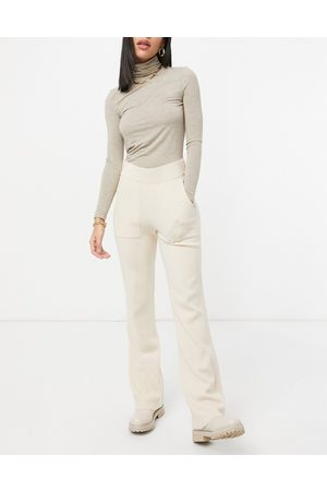Y.A.S Knitted flared trousers in cream