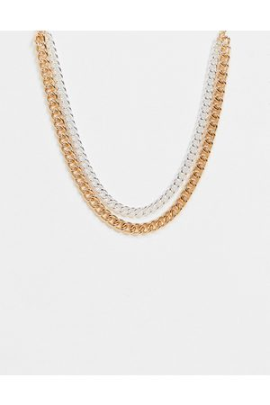 Monki Tyler double chunky chain necklace in gold and silver