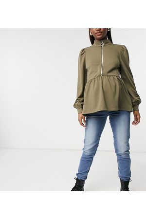Mama Licious Mamalicious Maternity sweat top with high neck and zip in camel