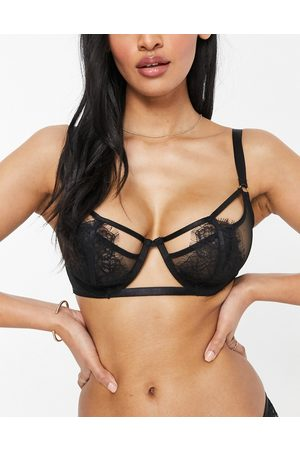 Wolf & Whistle Fuller Bust mesh and lace bra in black