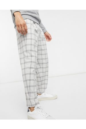 ASOS Oversized tapered smart trouser in grey check
