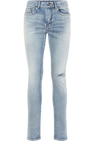 Saint Laurent Jeans Tiro Bajo De Denim Skinny Fit 15cm