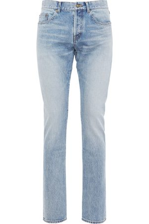 Saint Laurent Jeans Slim Fit De Denim De Algodón Con Logo 17cm