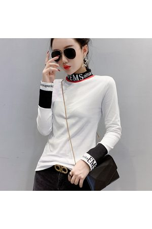 Newchic Fashion Long-sleeved T-shirt Female Stitching Thread Letter Slim Half-high Collar Foreign Body Bottoming Shirt