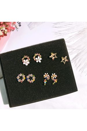 Newchic 925 Sterling Silver Shell Flower Women Drop Earrings Fashion Colorful Rhinestone Star Stud Earrings