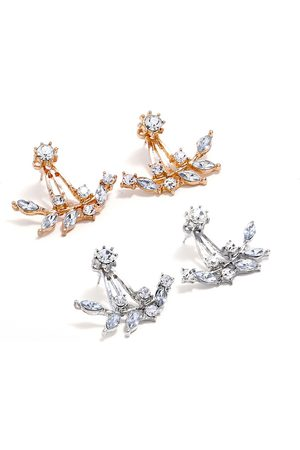Newchic Moda Ear Stud Pendientes Twig Mounted Flash Rhinestone Leaves Earring Elegant Jewelry para Mujeres