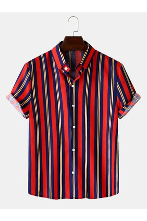 Newchic Hombre Colorful Rayas Imprimir Turn Down Collar Light Loose Shirts