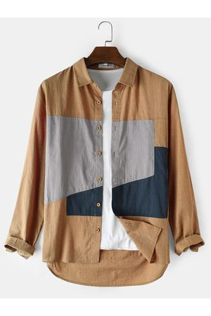 Newchic Mens 100% Cotton Colorblock Loose Casual Long Sleeve Shirts