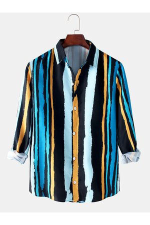 Newchic Hombres Colorful Stripe Print Button Up Loose Fit Casual Camisas de manga larga