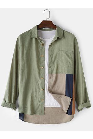 Newchic Mens Cotton Patchwork Daily Loose Long Sleeve Shirts With Pocket