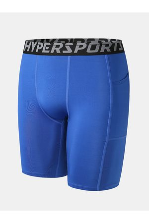 Newchic Fitness Sporty Color sólido Transpirable Skinny Running Bolsillos laterales Stretch Shorts