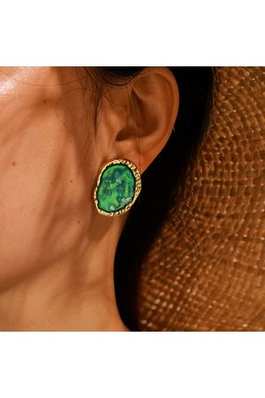 Newchic Bohemian Emeralds Earrings Metal Geometric Irregular Gemstone Shell Earrings