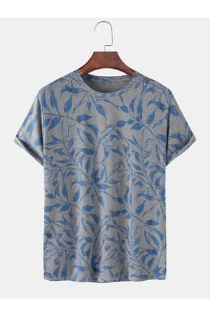 Newchic Mens Cotton Leaf Print Light Loose Casual O-Neck T-Shirts