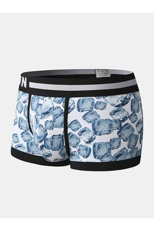 Newchic Hombres Nylon Ice Silk Bule Print Patchwork Boxer Briefs Letter Waistband Breathable Pouch Underwear