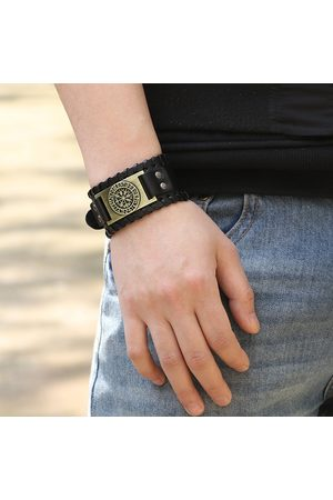 Newchic Punk Trendy Man Pirate Bracelet Inlay Inlay Retro Compass Wide Leather Hombres Pulsera