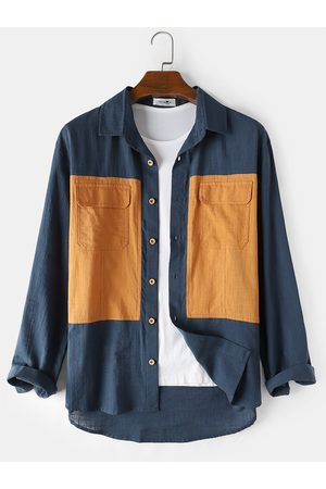 Newchic Mens Cotton Colorblock Two Pocket Casual Long Sleeve Shirts