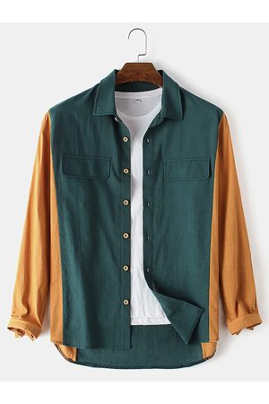 Newchic Mens Cotton Patchwork Casual Lapel Collar Long Sleeve Shirts
