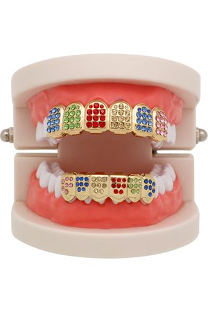 Newchic Punk Geometric Colorful Tirantes de diamantes de imitación Payaso Grillz Diamond Gold Braces Dientes Joyas