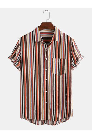 Newchic Mens Color Striped Chest Pocket Casual Short Sleeve Shirts