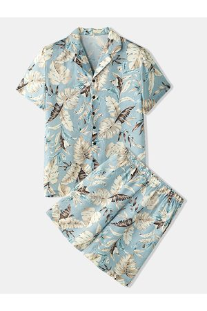 Newchic Hombres Tropical Leaves Print Loungewear Two Pieces Faux Silk Pyjamas Lapeal Collar Thin Sleepwear