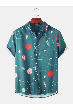 Newchic Men Fun Starry Sky & Constellation Printed Casual Camisa