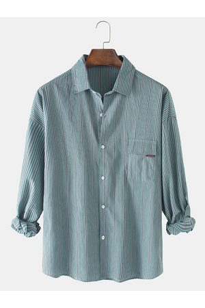 Newchic Mens Vertical Pinstripe Print Casual Loose Long Sleeve Shirts With Pocket