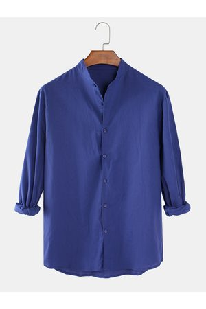 Newchic Mens Cotton Linen Plain Solid Color Stand Collar Casual Long Sleeve Shirts
