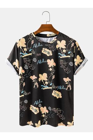 Newchic Hombres Summe Playa Imprimir Loose Casual Light O-Neck T-Shirts