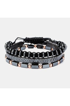 Newchic 3Pcs / Set Punk Men Bracelet Set Black Stone UFO Weaving Arrow Chain Pulsera multicapa con cuentas