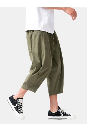Newchic Mens Cotton Daily Loose Regular Drawing Waist Cropped Harem Pantalones