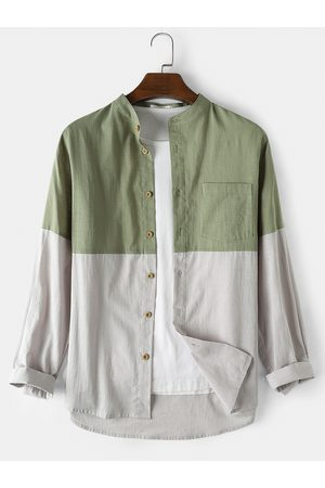 Newchic Mens Cotton Patchwork Casual Loose Long Sleeve Shirts With Pocket
